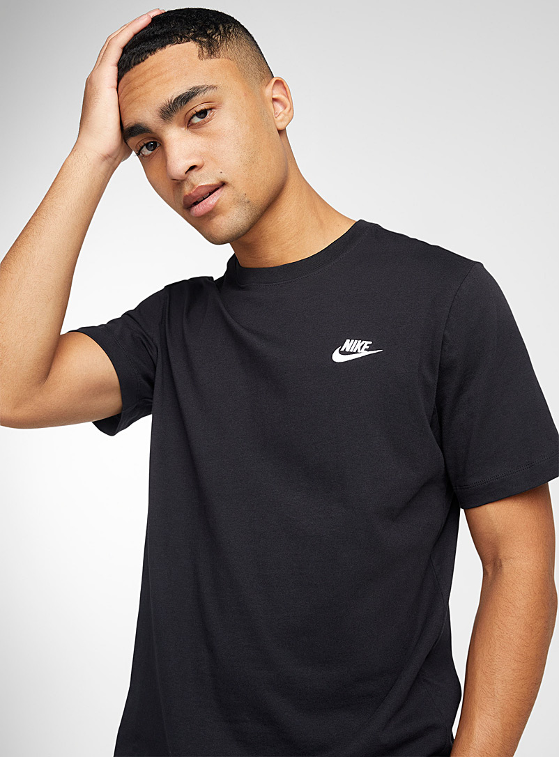 Nike Black Embroidered Swoosh T-shirt for men