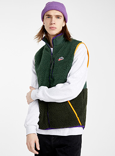 Nike Mossy Green Trek sherpa sleeveless jacket for men