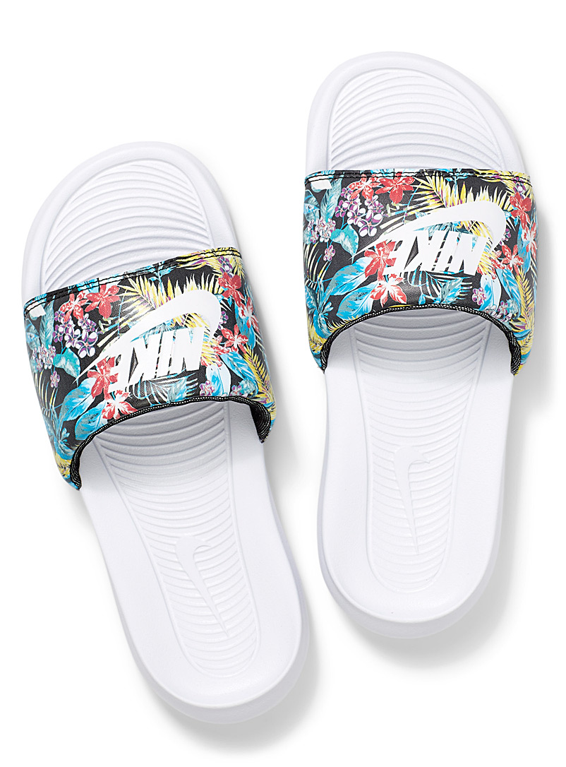 Nike Patterned Blue Victori One slides Women for women