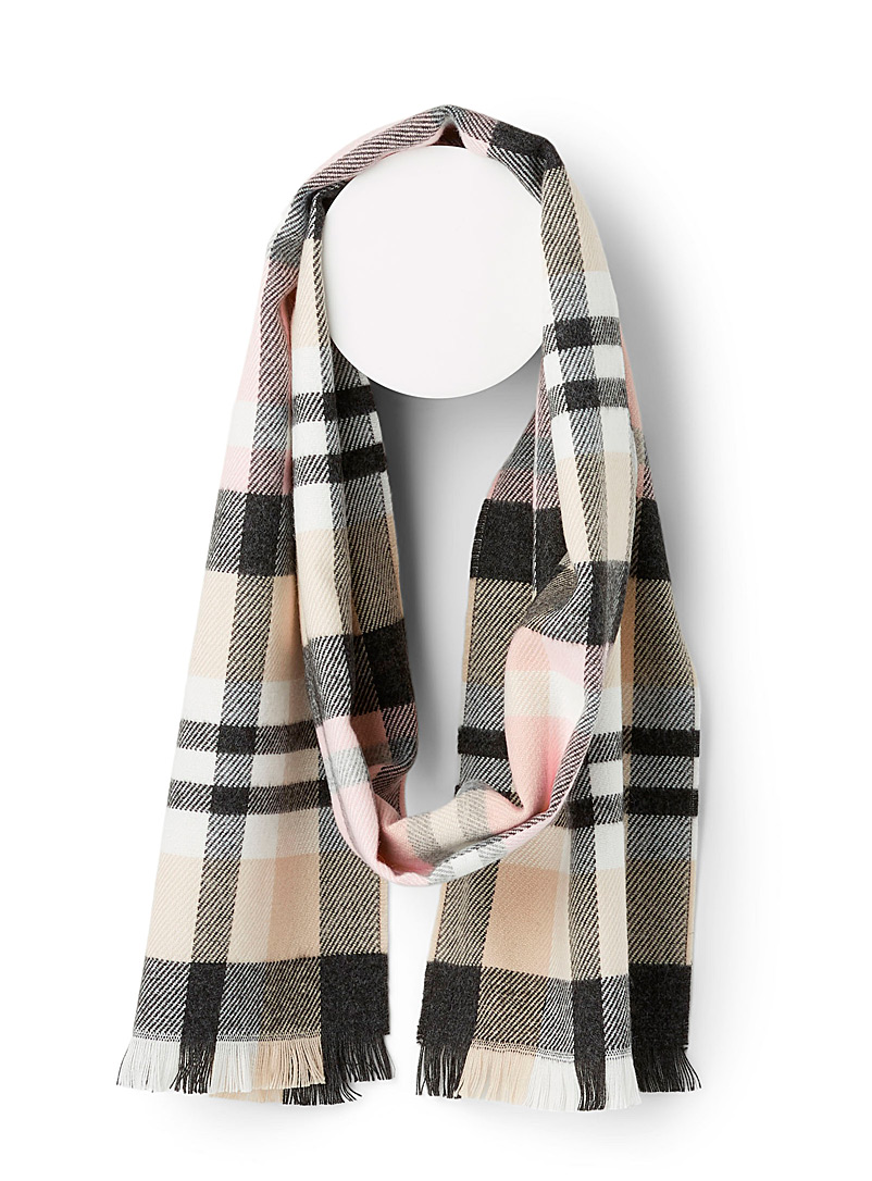 Elegant check scarf - Winter Scarves - Patterned Brown