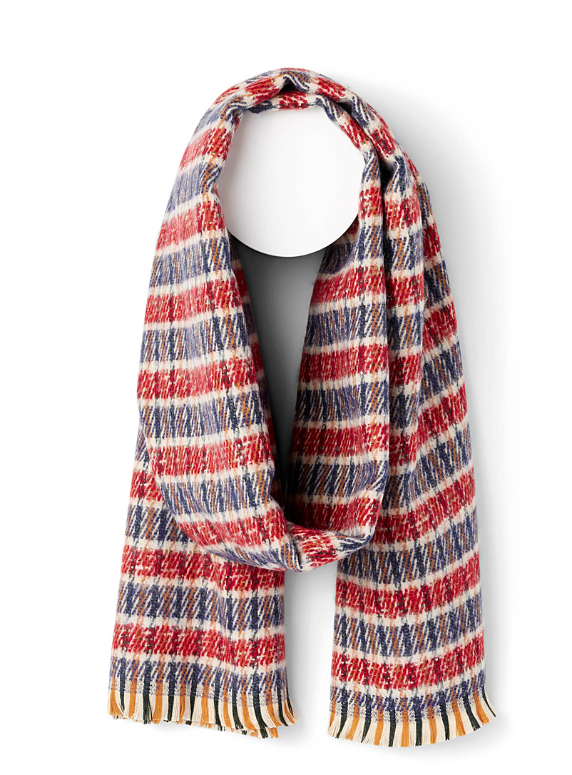 Simons Assorted red Check wool scarf for women