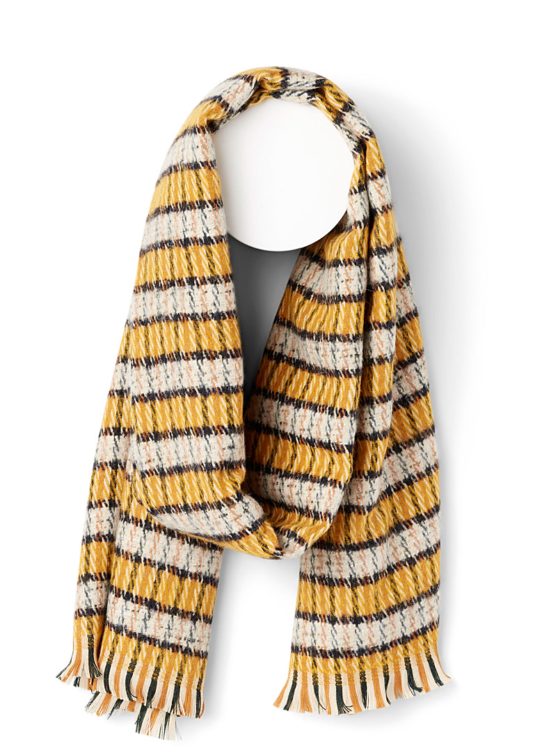 Simons Assorted yellow  Check wool scarf for women