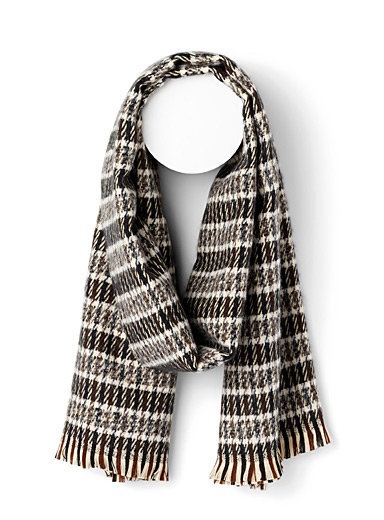 Simons Assorted black  Check wool scarf for women