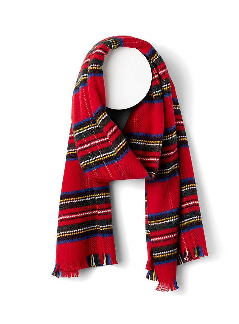 Simons Patterned Red Tartan check scarf for women