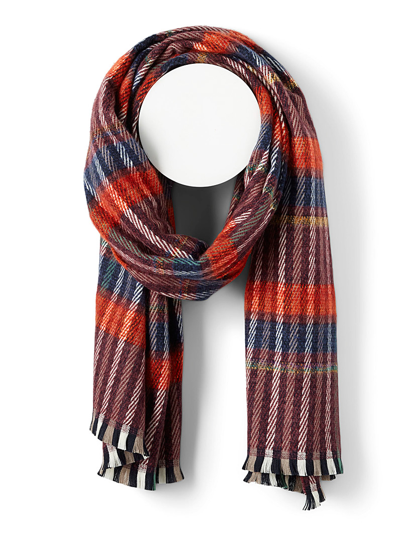 Simons Patterned Red Shimmery scarf for women