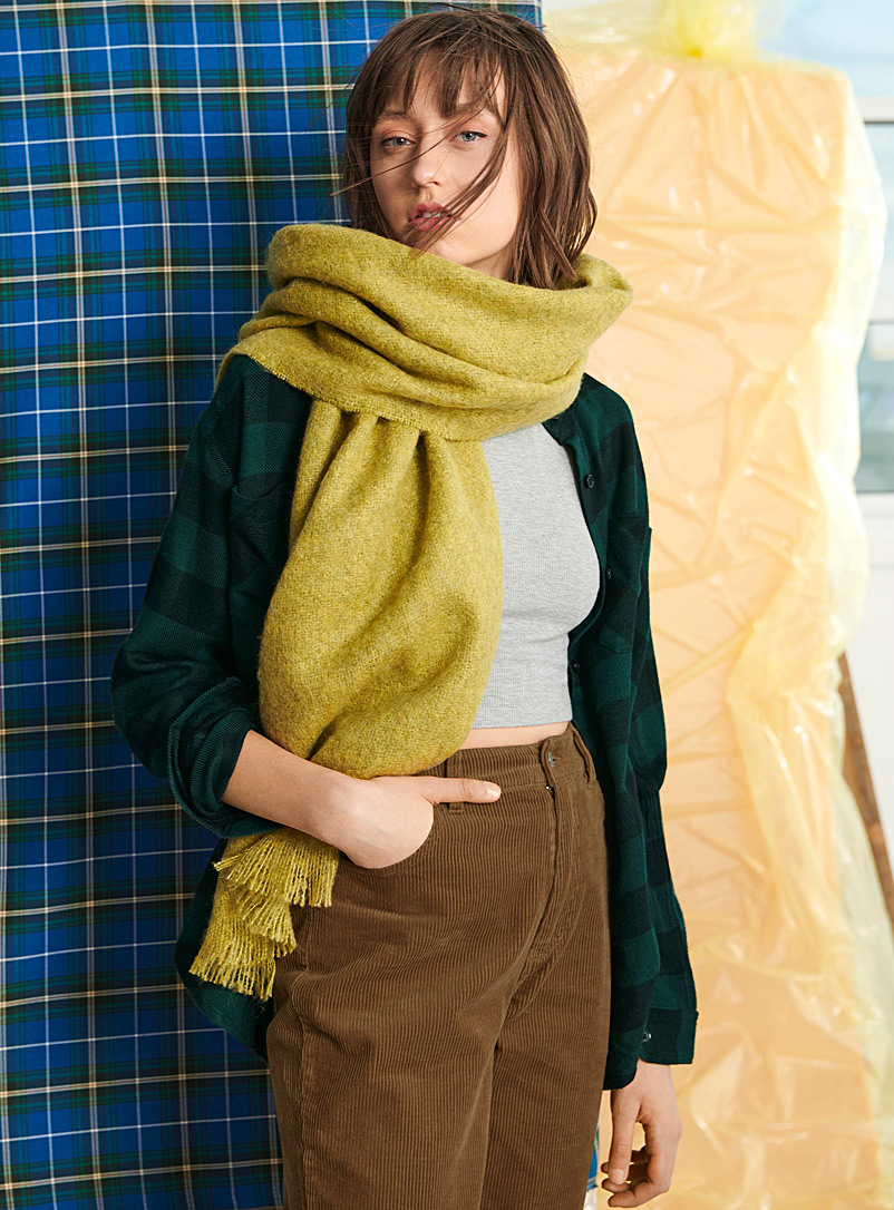 Simons Yellow Solid mohair-blend scarf for women