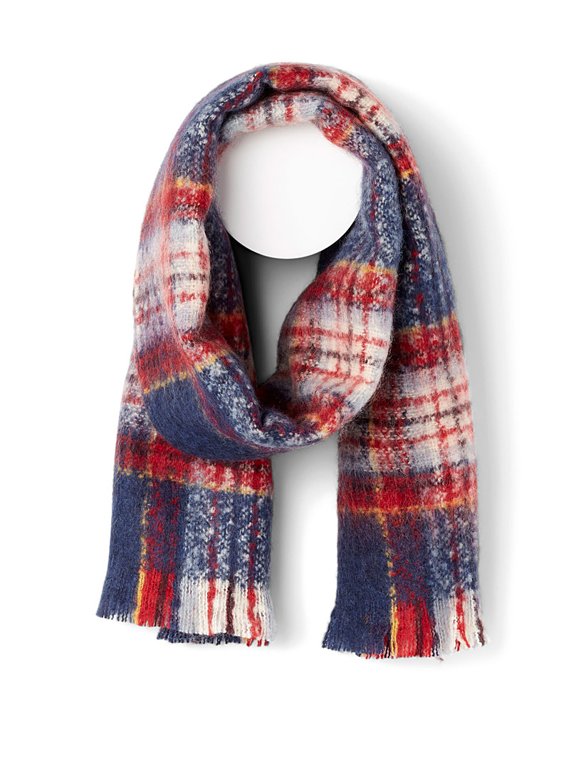 Simons Patterned Blue Blurred tartan mohair touch scarf for women