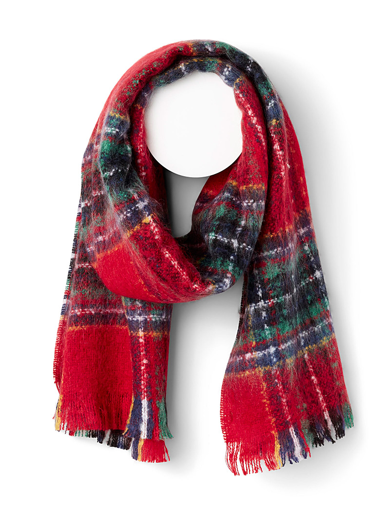 Simons Patterned Red Blurred tartan mohair touch scarf for women