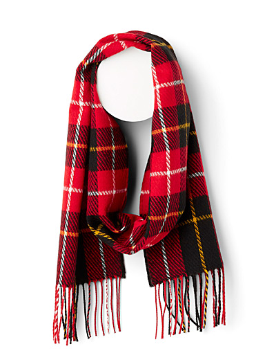 Hatched plaid scarf