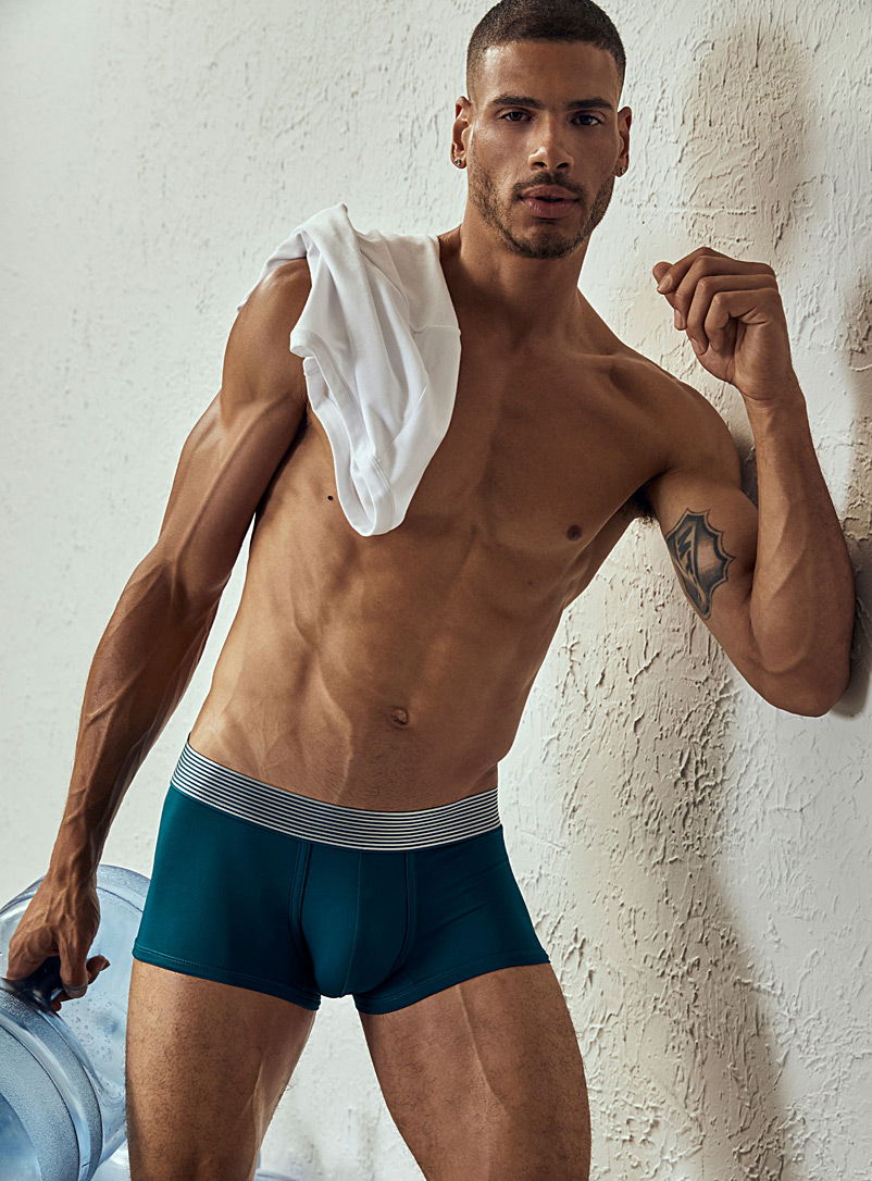 Le 31 Red Striped-waistband microfibre trunk for men