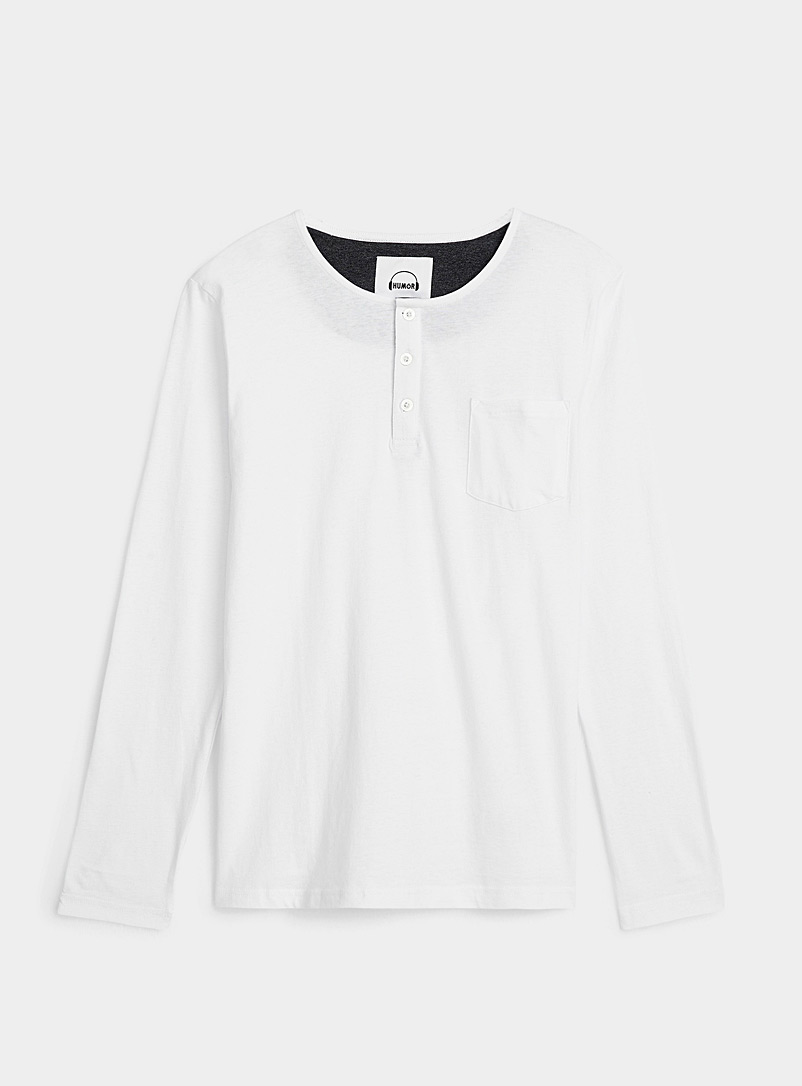 Humör White Solid Henley lounge tee for men
