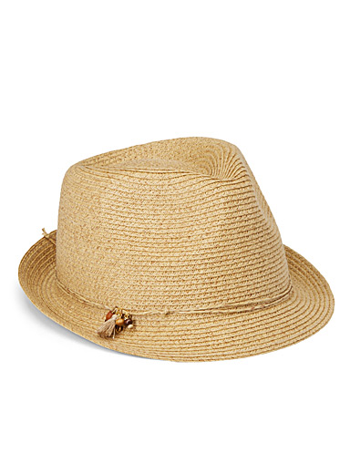Charm and straw fedora