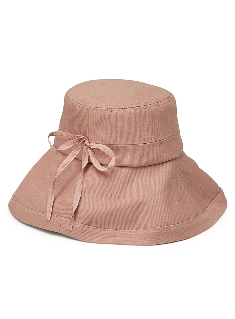 Canvas rolled brim bucket hat - Hats - Pink