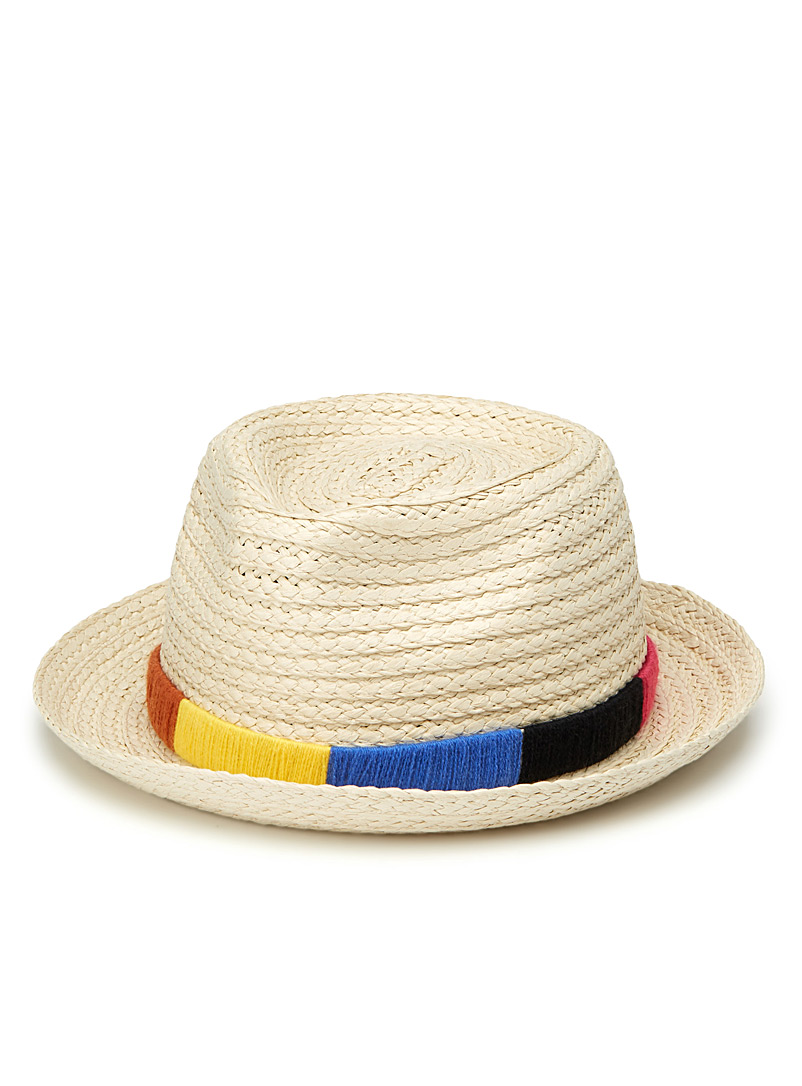 Multicoloured ribbon fedora - Hats - Ivory White