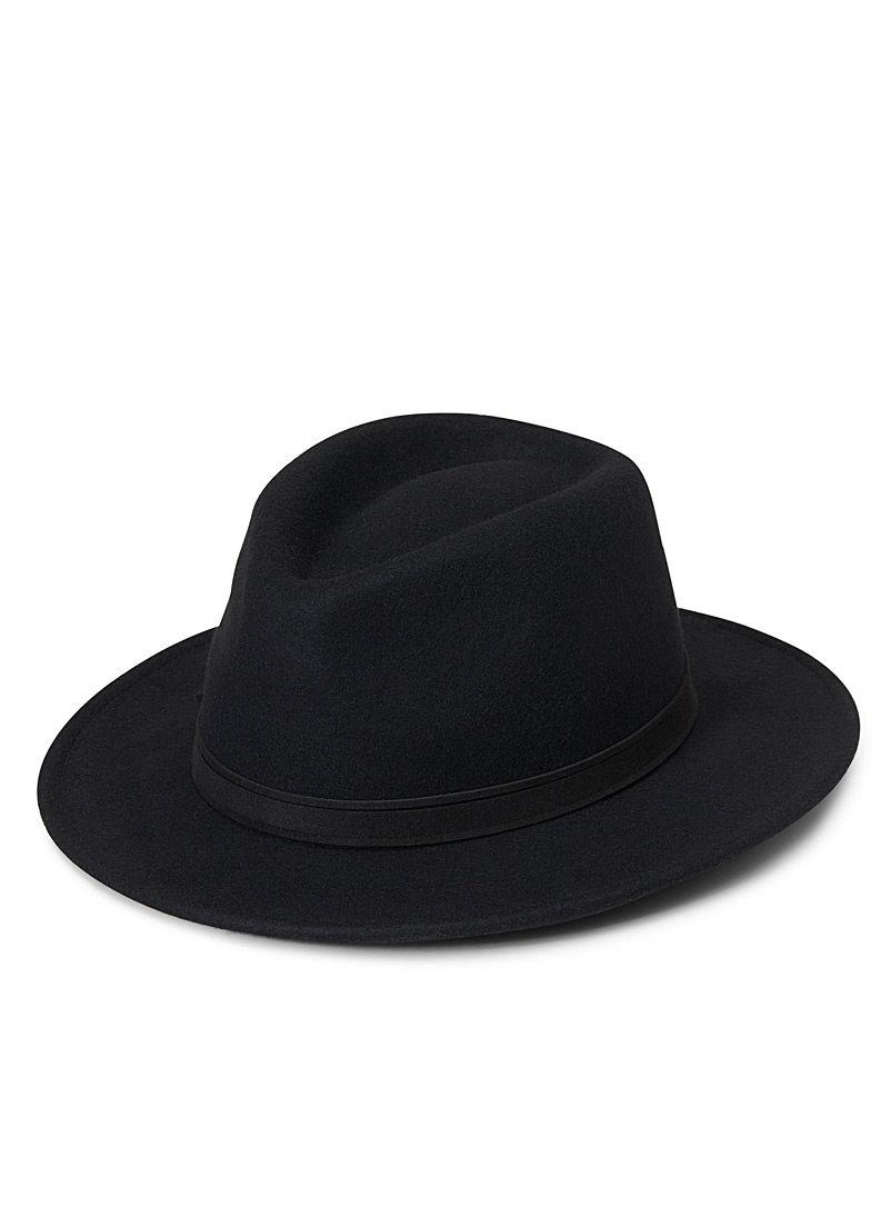 Openwork trimmed Panama hat - Hats - Black