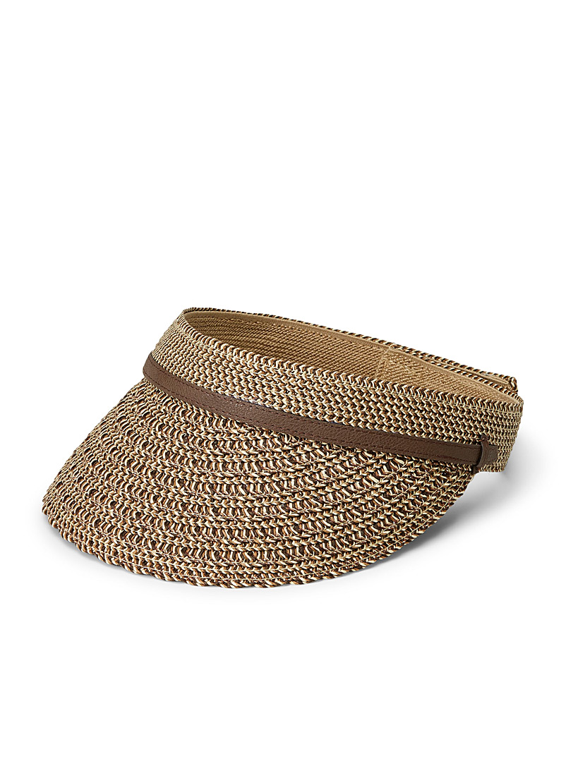 Nine West Brown Adjustable straw visor for women