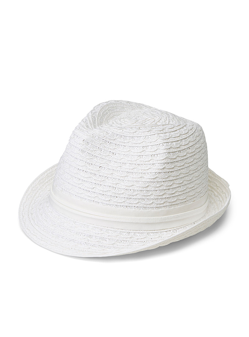 Nine West White Paper straw fedora for women