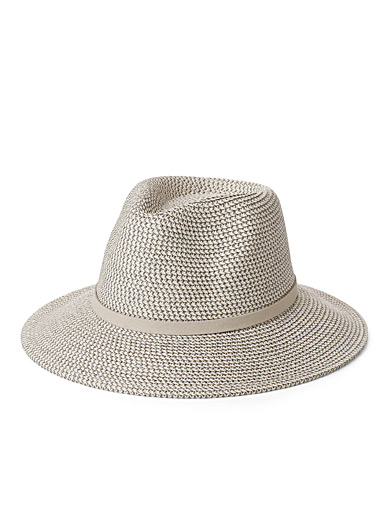 Faux-suede lace straw fedora