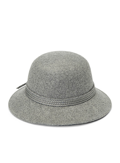 Nine West Grey Solid braided ribbon cloche for women