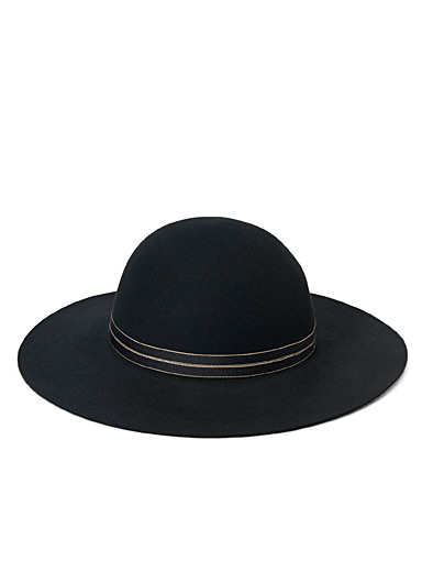 Simons Black Wool ribbon wide-brimmed hat for women