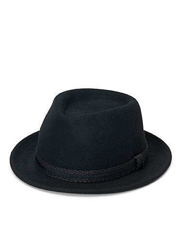 Nine West Black Braided ribbon fedora for women