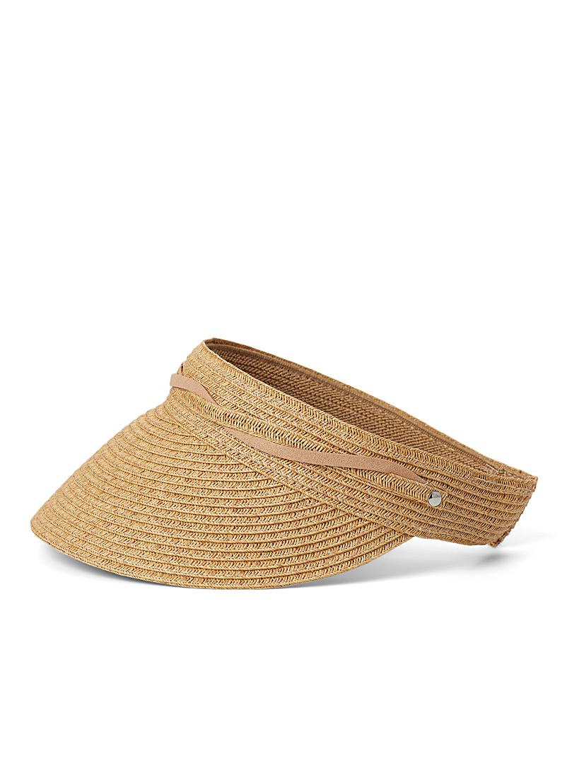 Nine West Cream Beige Decorative laces straw visor for women