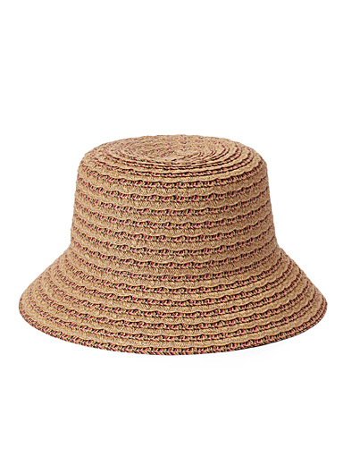 Colourful scalloped straw bucket hat