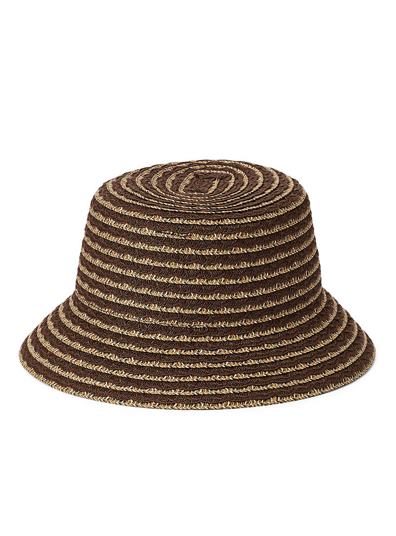 Nine West Brown Colourful scalloped straw bucket hat for women
