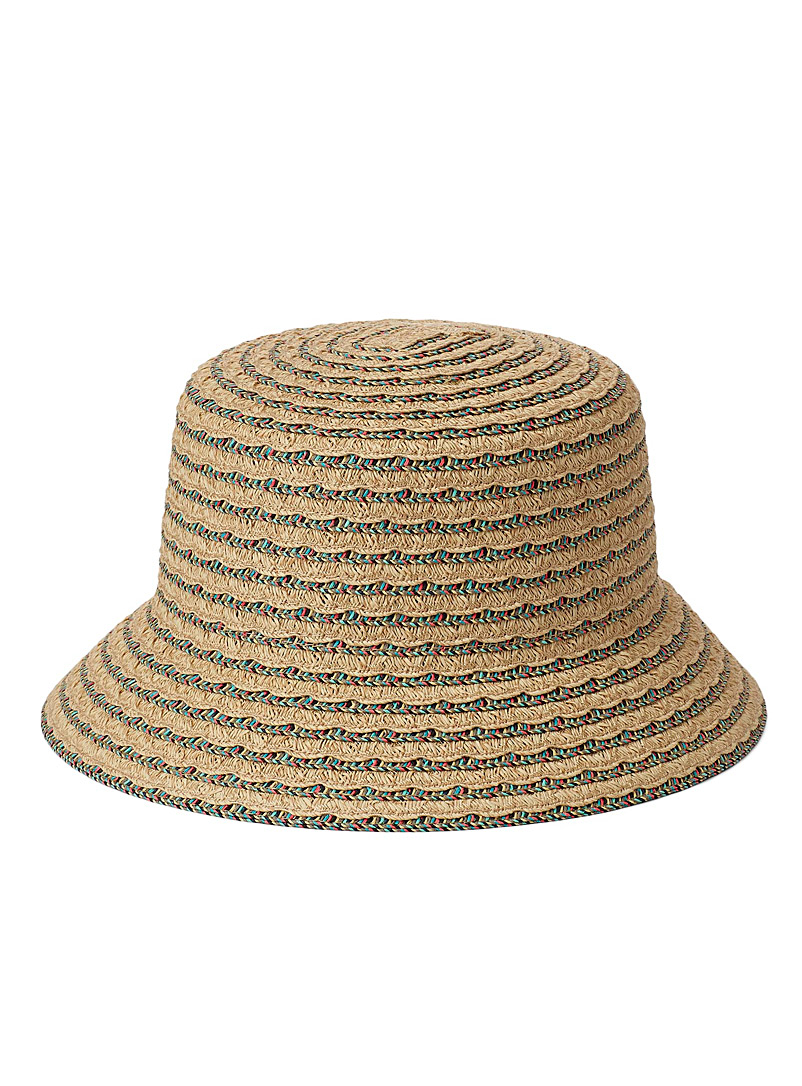 Nine West Baby Blue Colourful scalloped straw bucket hat for women
