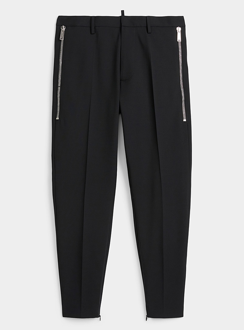 Dsquared2 Black Zip ankle pant for men