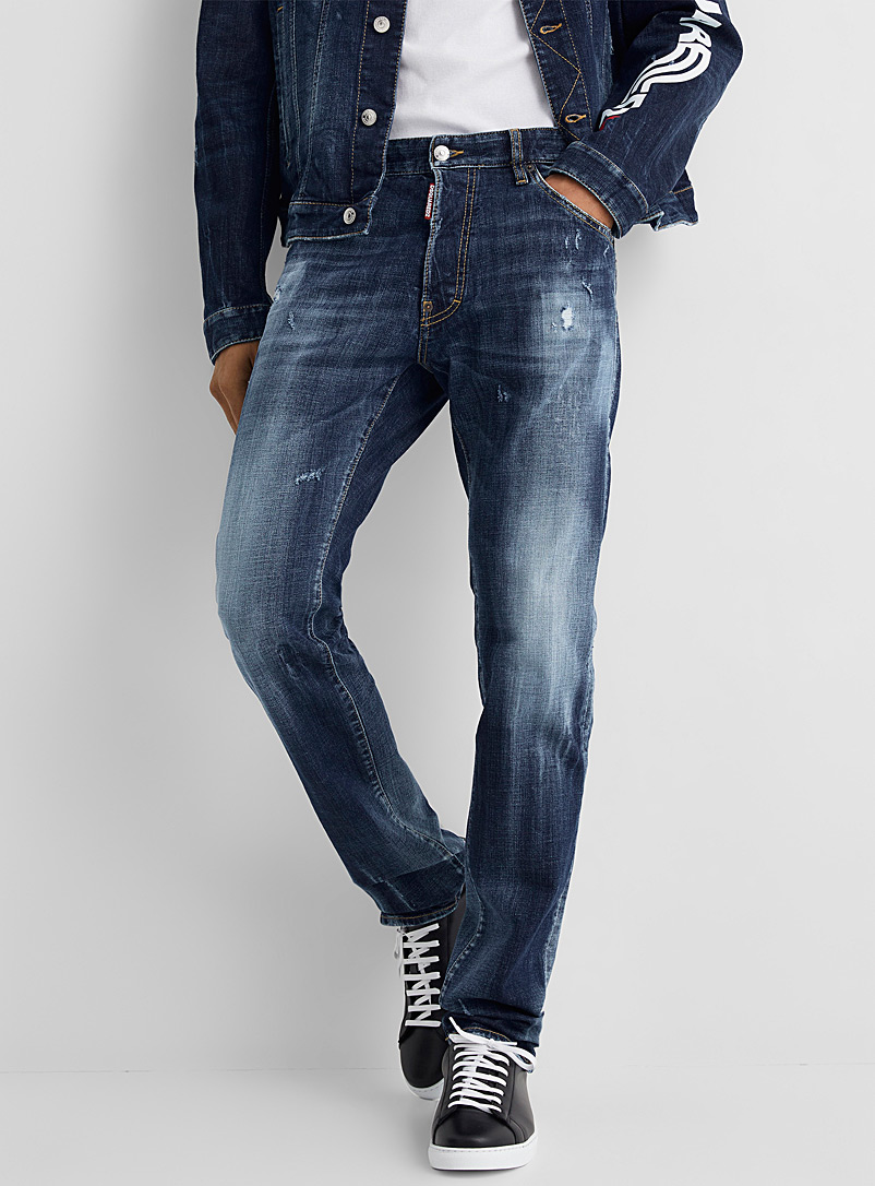 Dsquared2 Blue Cool Guy distressed faded blue jean for men