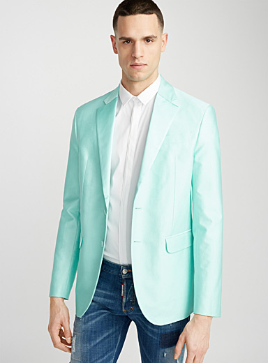 Satiny collar mint green blazer