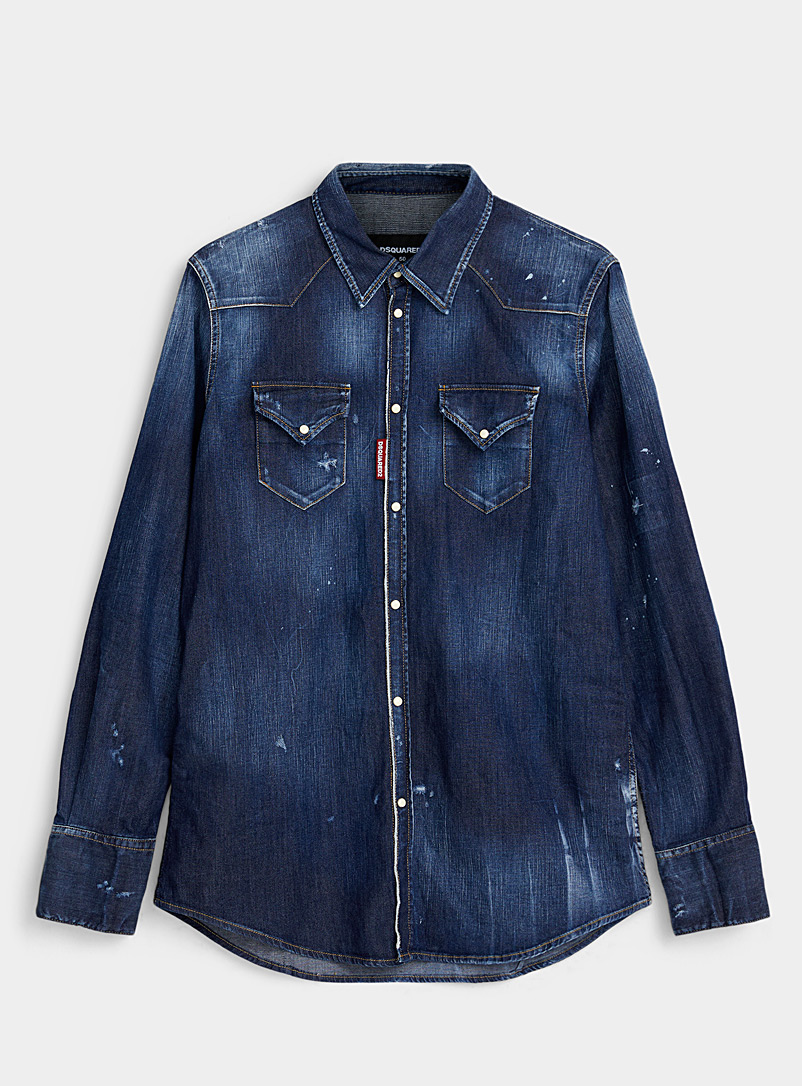 Dsquared2 Blue Western denim shirt for men