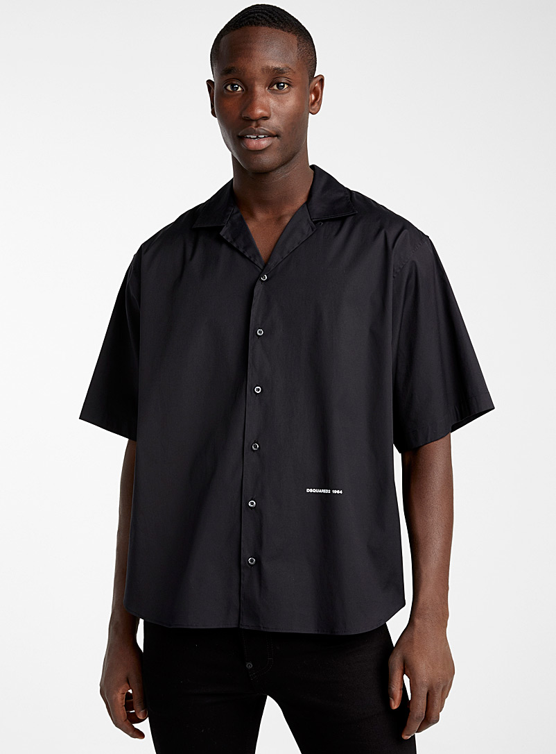 Dsquared2 Black Convertible collar shirt for men