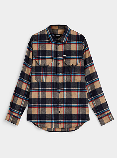 Dsquared2 Cream Beige Brushed check overshirt for men