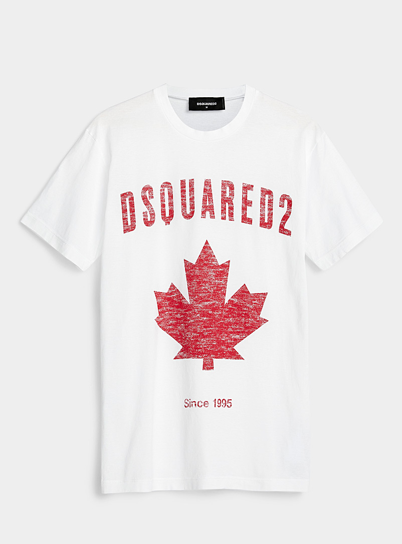Dsquared2 White Maple leaf T-shirt for men