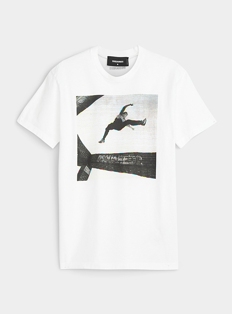 Dsquared2: Le t-shirt montage photo Blanc pour homme