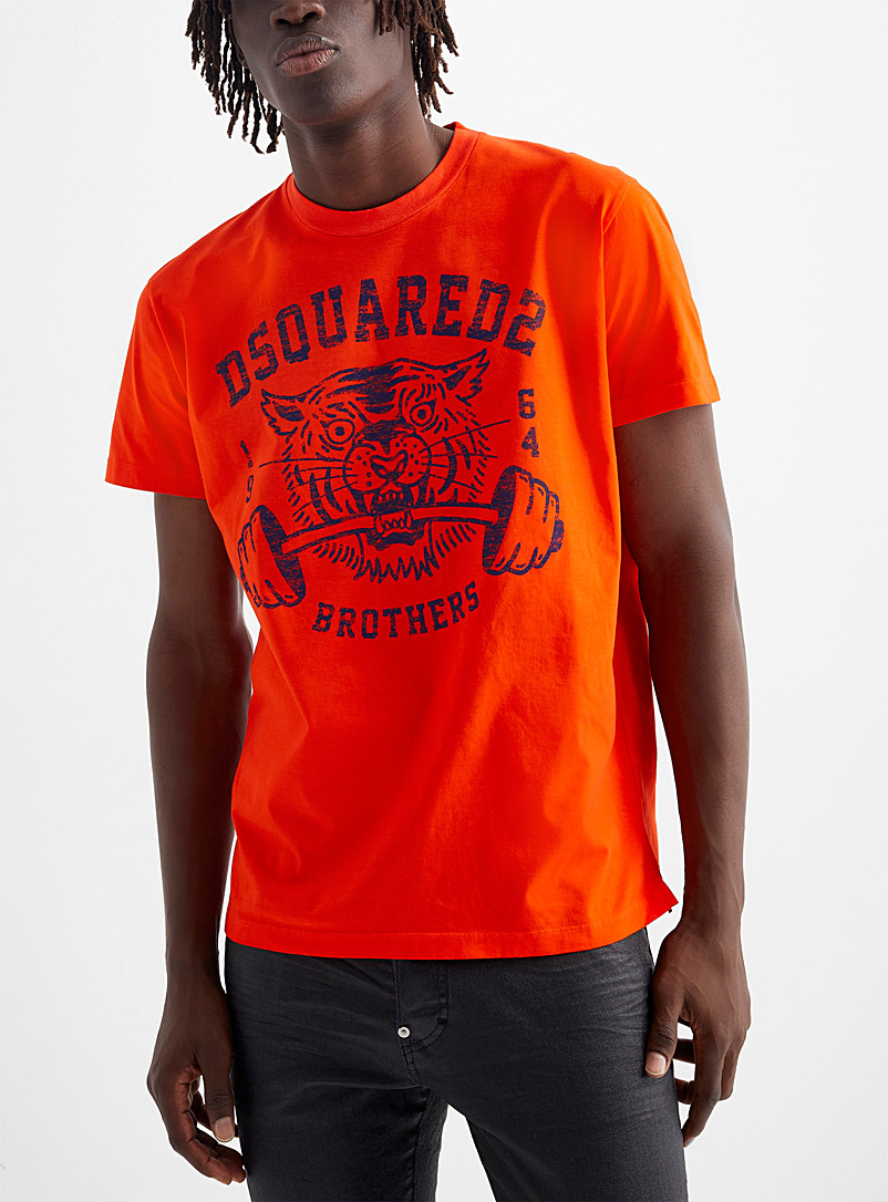 Dsquared2 Red Sports club tiger T-shirt for men