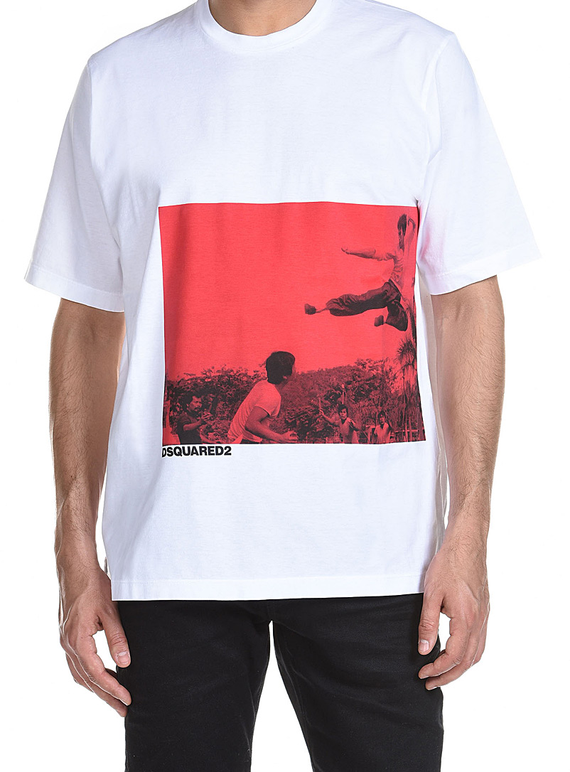 Dsquared2 White Bruce Lee T-shirt for men