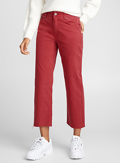 Red wide-leg high-rise jean
