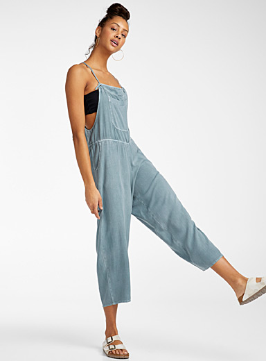 RVCA Slate Blue Stormy blue loose overalls for women