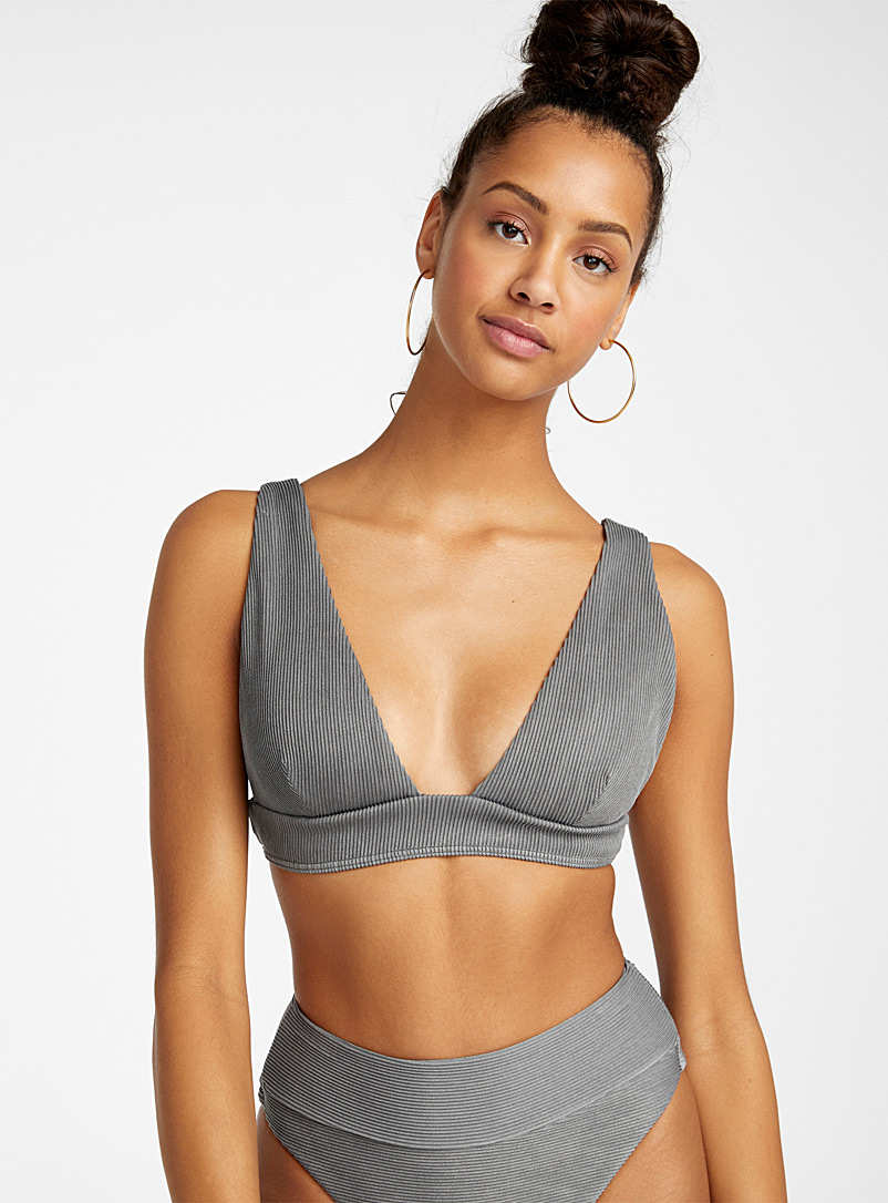 RVCA Black Faded grey ribbed bralette for women