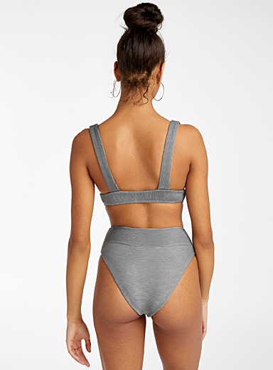 RVCA Black Faded grey ribbed bikini bottom for women