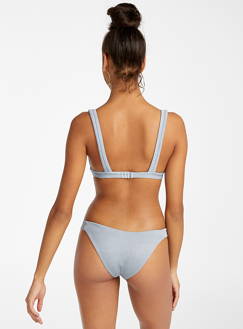 RVCA Slate Blue Faded storm-hued small ribbed bikini bottom for women