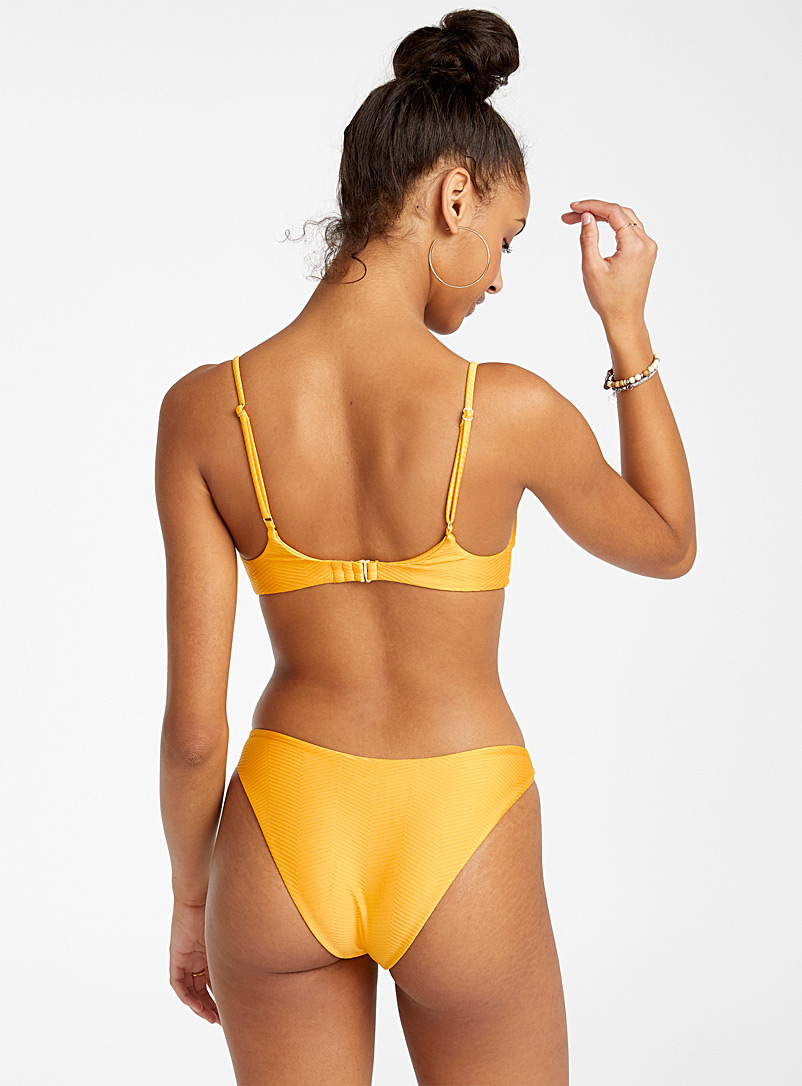 RVCA Golden Yellow Bodega high-cut bikini bottom for women