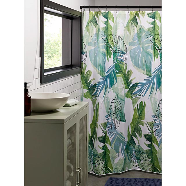 tropical-leaves-shower-curtain