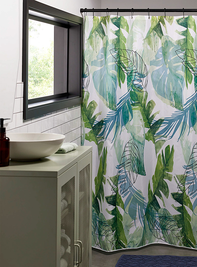 Simons Maison Patterned White Tropical leaves shower curtain