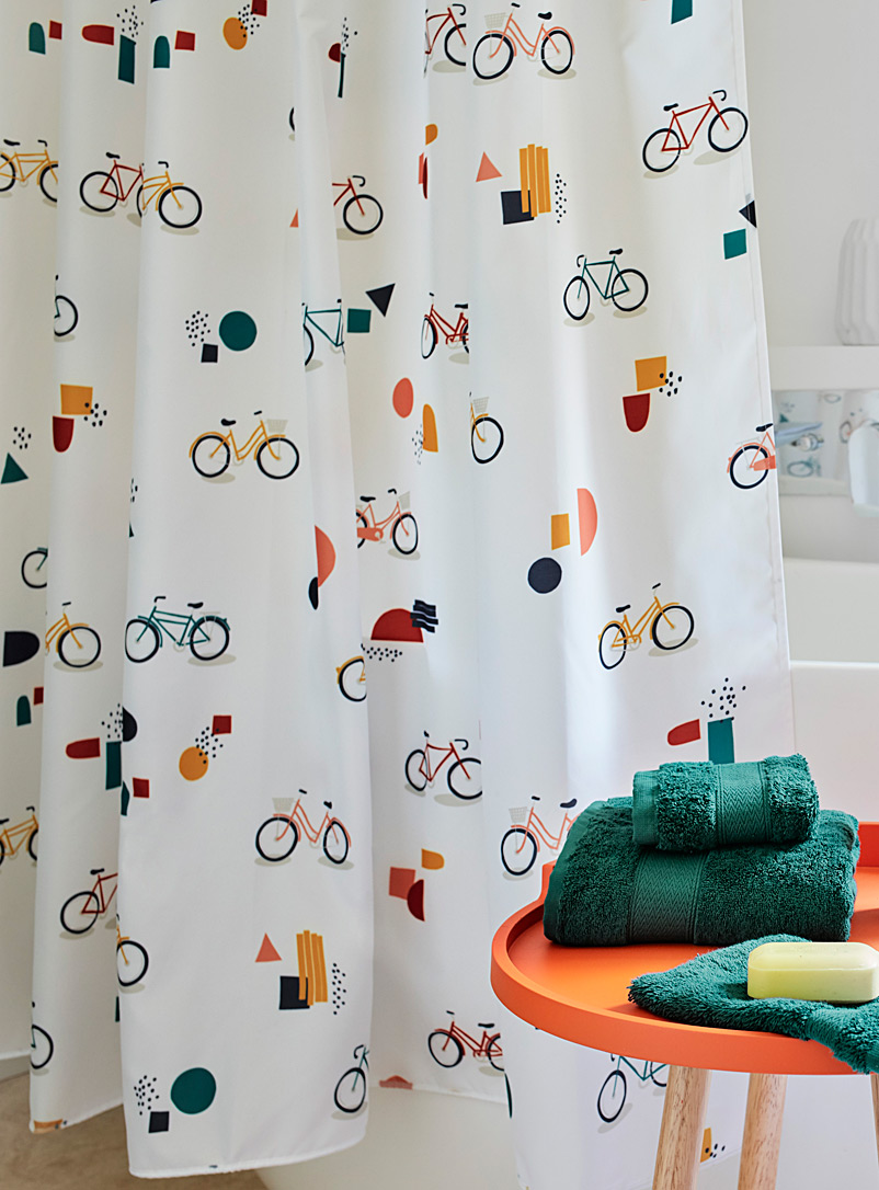 Urban bike shower curtain - Fabric - Patterned White