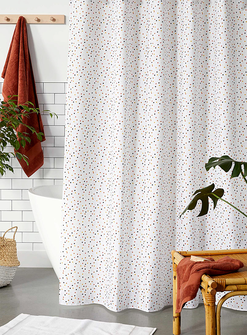 Colourful disc shower curtain