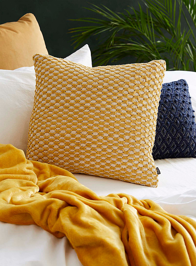 Kas Australia Golden Yellow Textured knit cushion  50 x 50 cm
